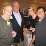 Roger Greenberg of Brotex (left), Dick and Kasey Kruse of Kruse Carpet Recycling and Ron Greitzer of Reliance Carpet Pad take a break from networking to pose for a picture.