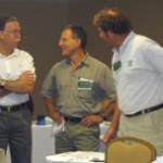 Bob Peoples (left), Louis Renbaum & John Votaw enjoying the opportunity to meet with each other to discuss the carpet recycling industry