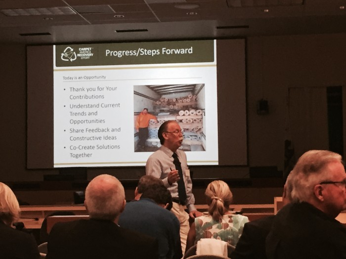 Bob Peoples presenting on the carpet recycling industry