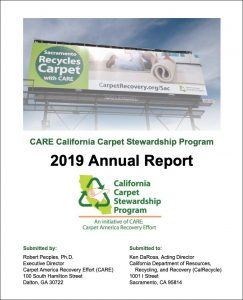 annual report cover showing billboard promoting carpet recycling in Sacramento